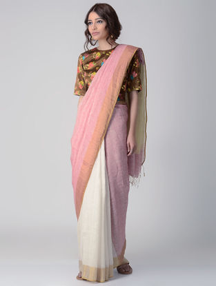 Pink-Ivory Natural-dyed Linen Saree with Zari