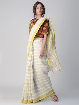 Ivory Natural-dyed Linen-Mulberry Silk Saree
