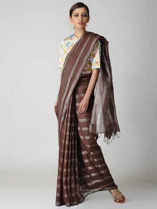 Brown Natural-dyed Linen Saree with Zari