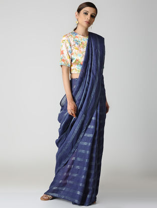 Blue Natural-dyed Linen Saree with Zari