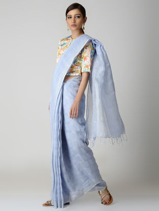 Blue Natural-dyed Linen Saree
