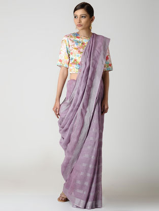 Mauve Natural-dyed Linen Saree