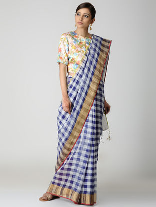 White Blue Natural-dyed Checkered Linen Saree with Zari