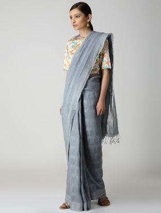 Grey Natural-dyed Linen Saree