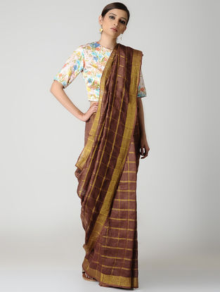 Maroon Natural-dyed Linen Saree with Zari