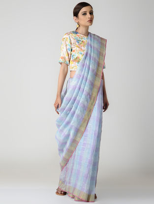 Blue-Purple Natural-dyed Linen Saree with Zari