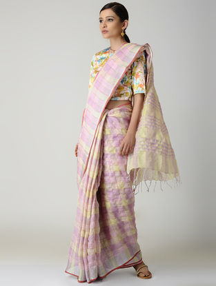 Pink-Cream Natural-dyed Linen Saree with Zari