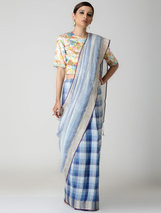 Blue-White Natural-dyed Linen Saree with Zari