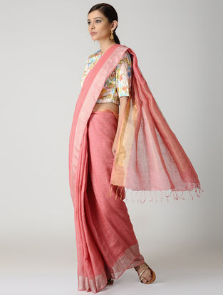 Pink Natural-dyed Linen Saree with Zari