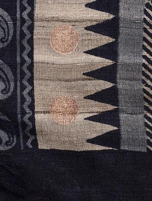 Purple-Beige Block-printed Tussar Silk Dupatta