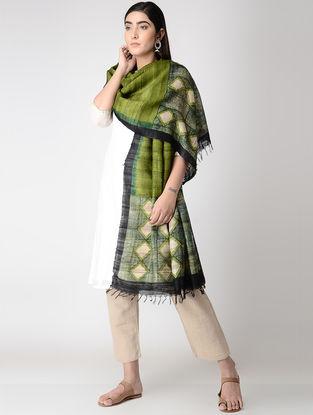 Green-Beige Block-printed Tussar Silk Dupatta