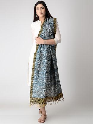 Ivory-Blue Block-printed Tussar Silk Dupatta