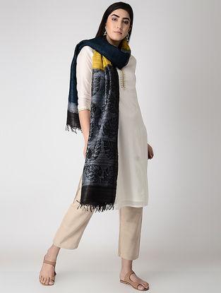 Yellow-Grey Block-printed Tussar Silk Dupatta