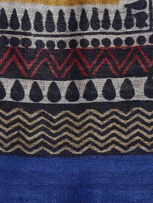 Ochre-Black Block-printed Tussar Silk Dupatta