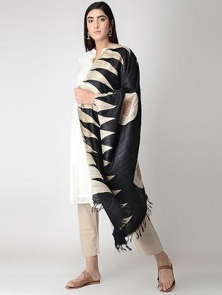 Black-Beige Block-printed Tussar Silk Dupatta