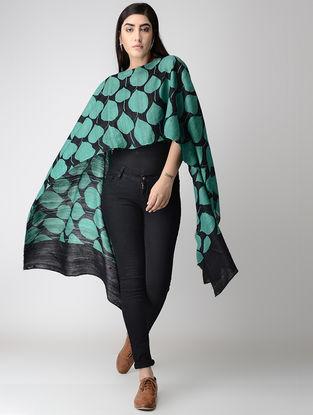 Green-Black Block-printed Tussar Silk Cape