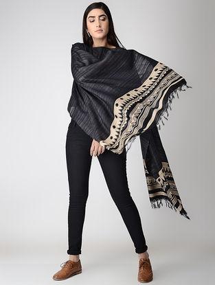 Black-Beige Block-printed Tussar Silk Cape