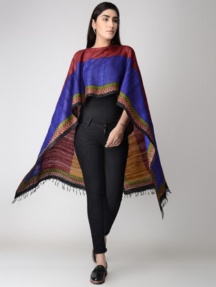 Blue-Red Block-printed Tussar Silk Cape