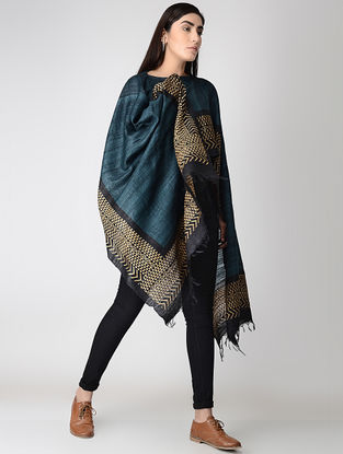 Teal-Beige Block-printed Tussar Silk Cape