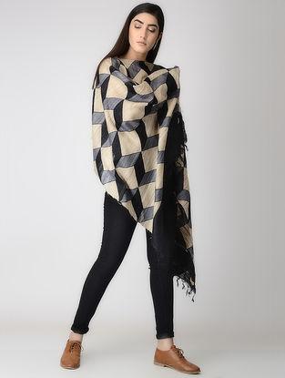 Beige-Grey Block-printed Tussar Silk Cape