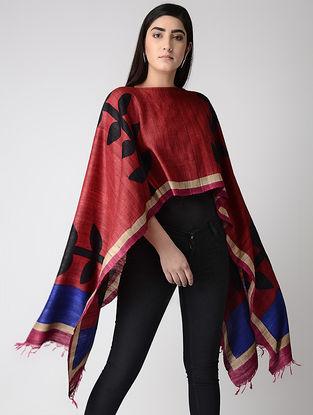 Red-Black Block-printed Tussar Silk Cape