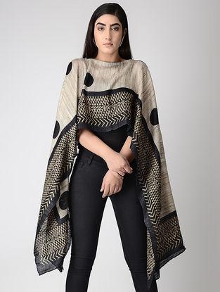 Beige-Black Block-printed Tussar Silk Cape