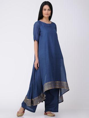 Blue Cotton-Mulmul Kurta and Pants with Gota Work (Set of 2)