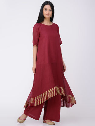 Red Cotton-Mulmul Kurta and Pants with Gota Work (Set of 2)