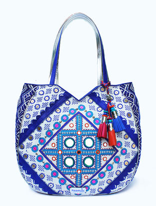 White-Blue Hand Block Printed and Embroidered Tote