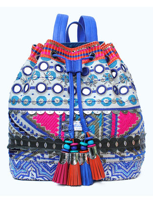 White-Blue Hand Block Printed and Embroidered Backpack