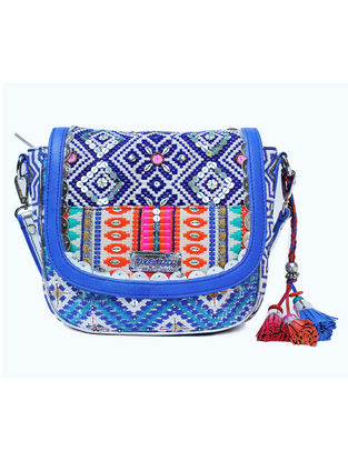 White-Blue Hand Block Printed and Embroidered Sling Bag