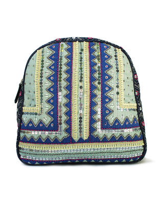 Blue-Multicolored Hand Block Printed and Embroidered Leather Backpack