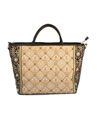 Beige-Black Hand Block Printed and Embroidered Leather Tote