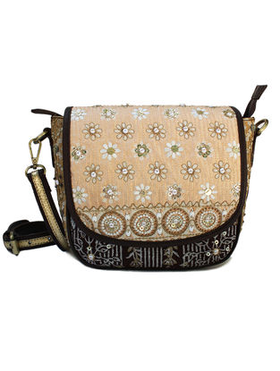 Beige-Black Hand Block Printed and Embroidered Leather Sling Bag