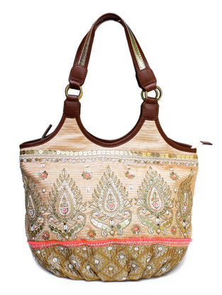 Beige-Brown Hand Block Printed and Embroidered Leather Tote