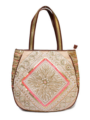 Beige-Pink Hand Block Printed and Embroidered Leather Tote