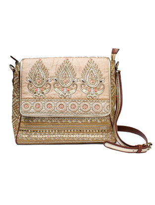 Beige-Brown Hand Block Printed and Embroidered Leather Sling Bag