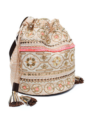 Beige-Pink Hand Block Printed and Embroidered Leather Bucket Bag