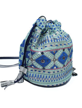 Blue Hand Block Printed and Embroidered Leather Bucket Bag