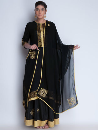 Black-Golden Zari Embroidered Georgette Dupatta by Neemrana