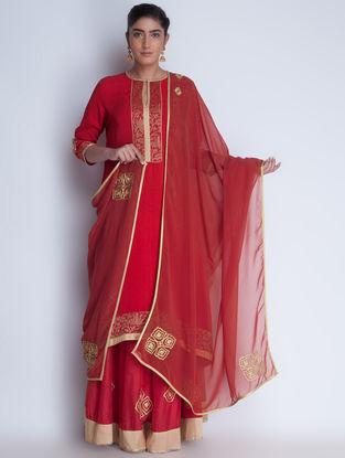 Red-Golden Zari Embroidered Georgette Dupatta by Neemrana