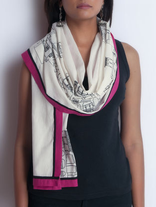 Ivory-Pink Screen Printed Cotton Stole by Neemrana