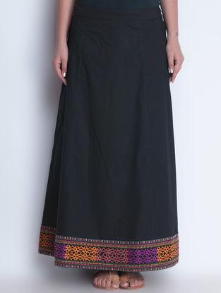 Black Embroidered Elasticated Waist Cotton Skirt by Neemrana