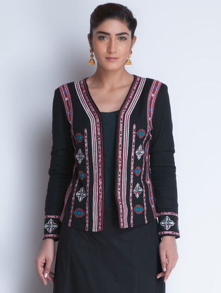 Black Embroidered Cotton Jacket by Neemrana