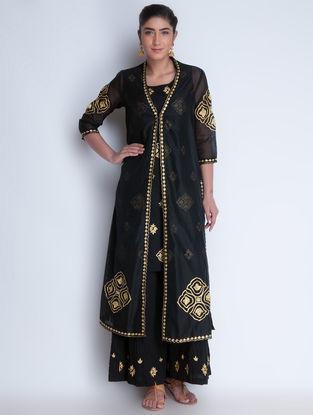 Black-Golden Zari Embroidered Chanderi Jacket with Cotton Kurta & Crinkled Cotton Palazzos Set of 3 by Neemrana