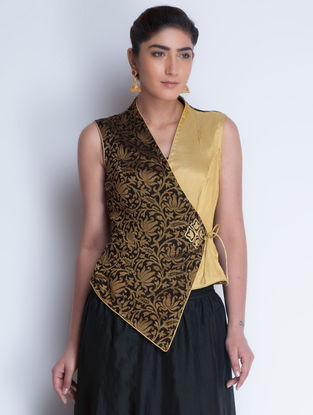 Black-Golden Jacquard & Zari Embroidered Angrakha Jacket by Neemrana