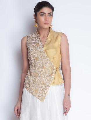 Ivory-Golden Jacquard & Zari Embroidered Angrakha Jacket by Neemrana