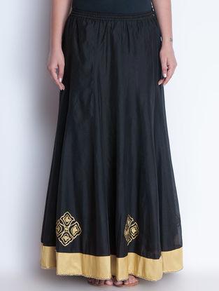 Black-Golden Zari Embroidered Elasticated & Tie-Up Waist Chanderi Lehenga by Neemrana
