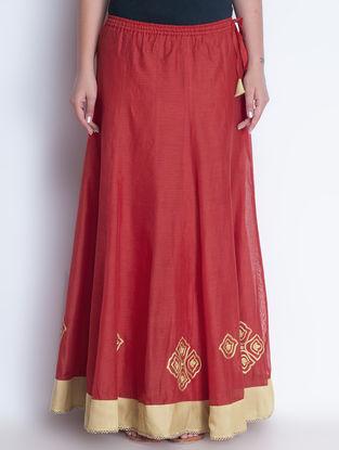 Red-Golden Zari Embroidered Elasticated & Tie-Up Waist Chanderi Lehenga by Neemrana