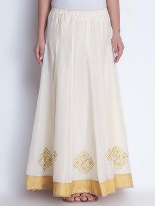 Ivory-Golden Zari Embroidered Elasticated & Tie-Up Waist Chanderi Lehenga by Neemrana